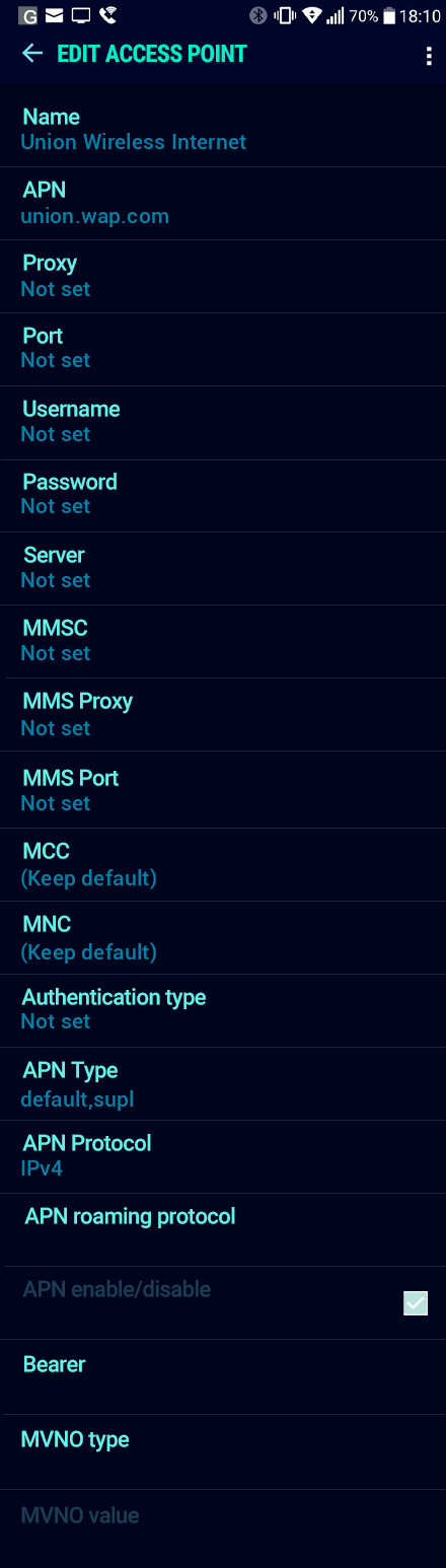 Union Wireless Internet APN settings for Android Nougat screenshot