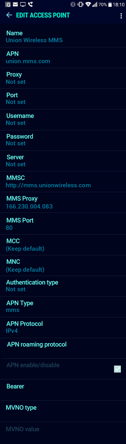 Union Wireless MMS APN settings for Android Nougat screenshot