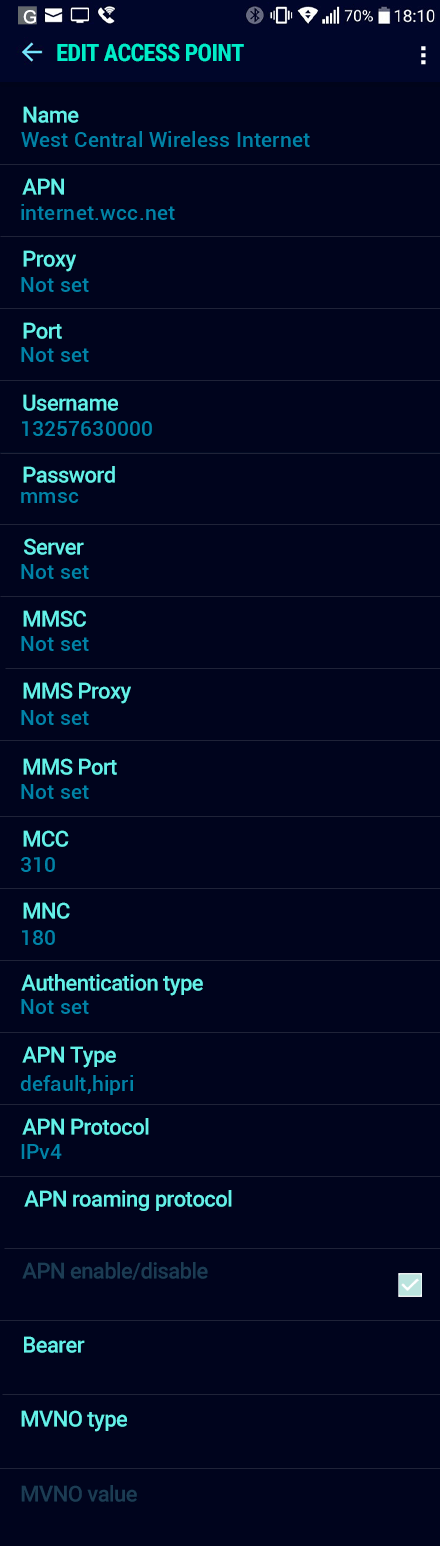 West Central Wireless Internet APN settings for Android Nougat screenshot