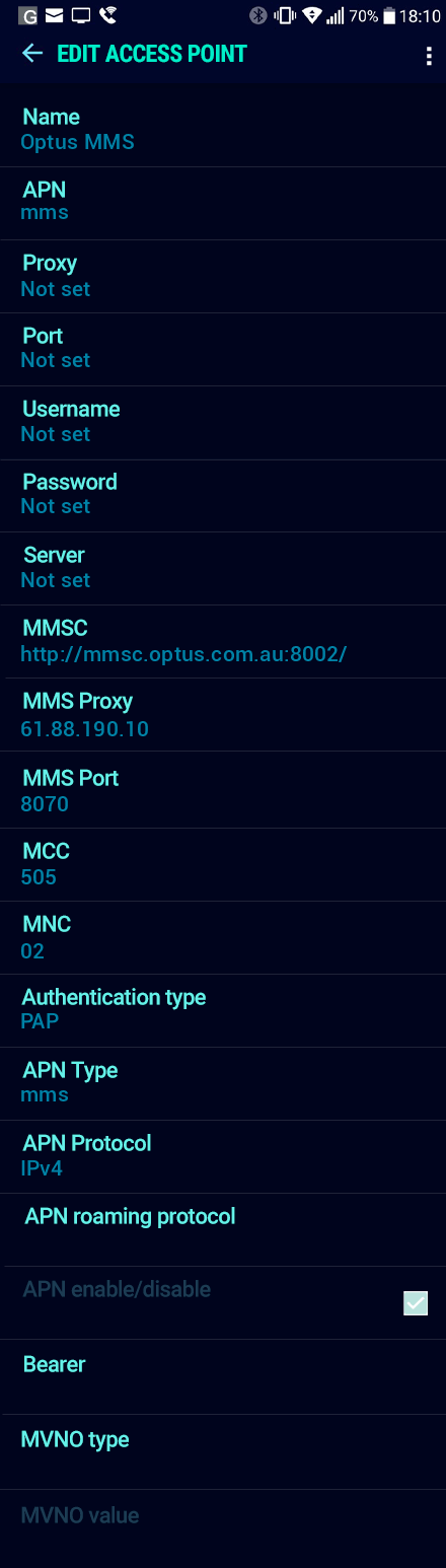 Optus MMS APN settings for Android Nougat screenshot