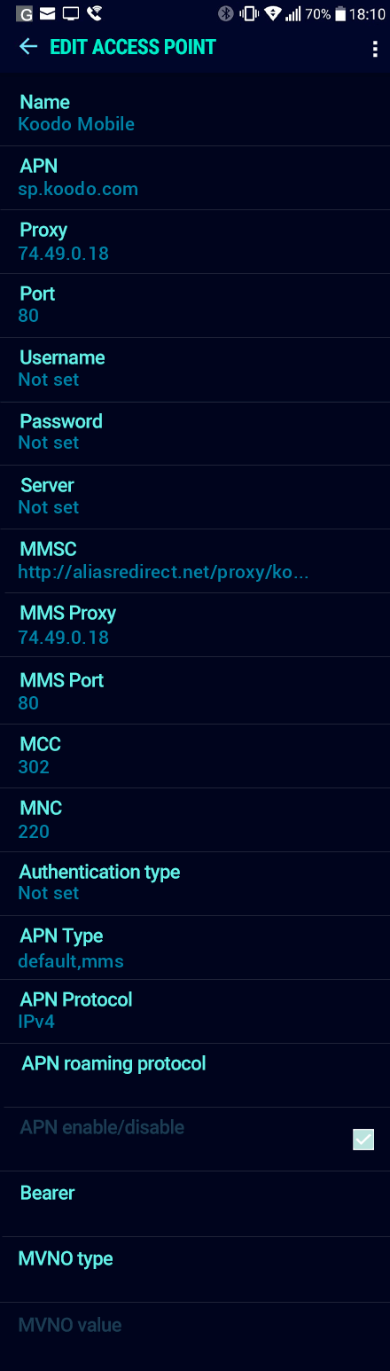 Koodo Mobile  APN settings for Android Nougat screenshot