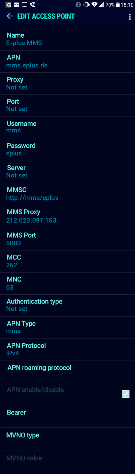 E-plus MMS APN settings for Android Nougat screenshot