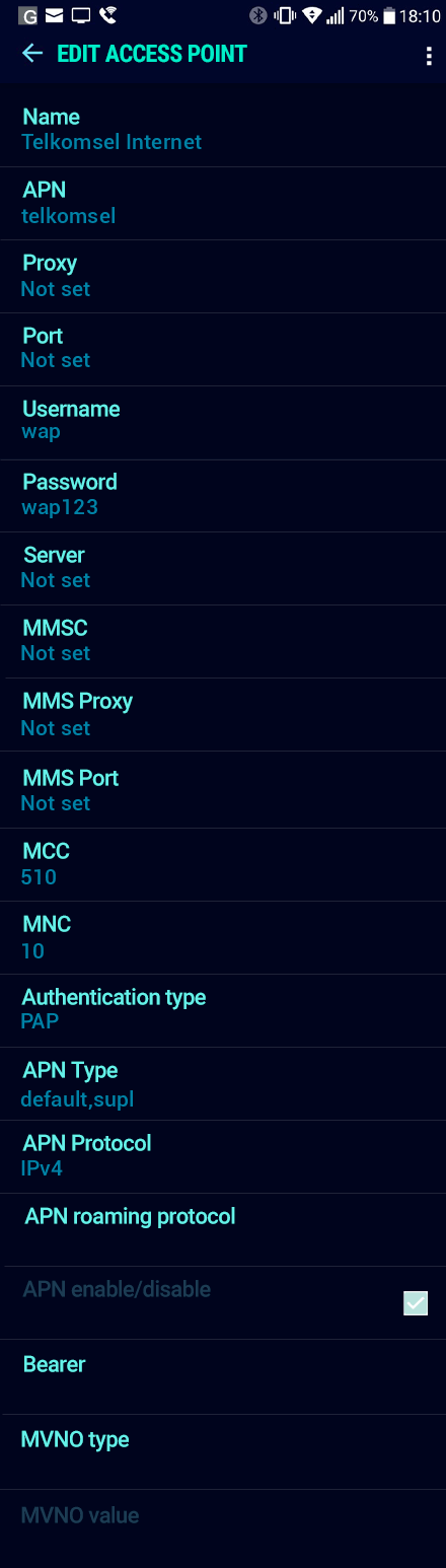 Telkomsel Internet APN settings for Android Nougat screenshot