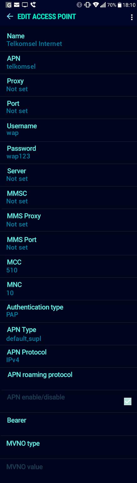 Telkomsel Internet APN settings for Android Nougat screenshot