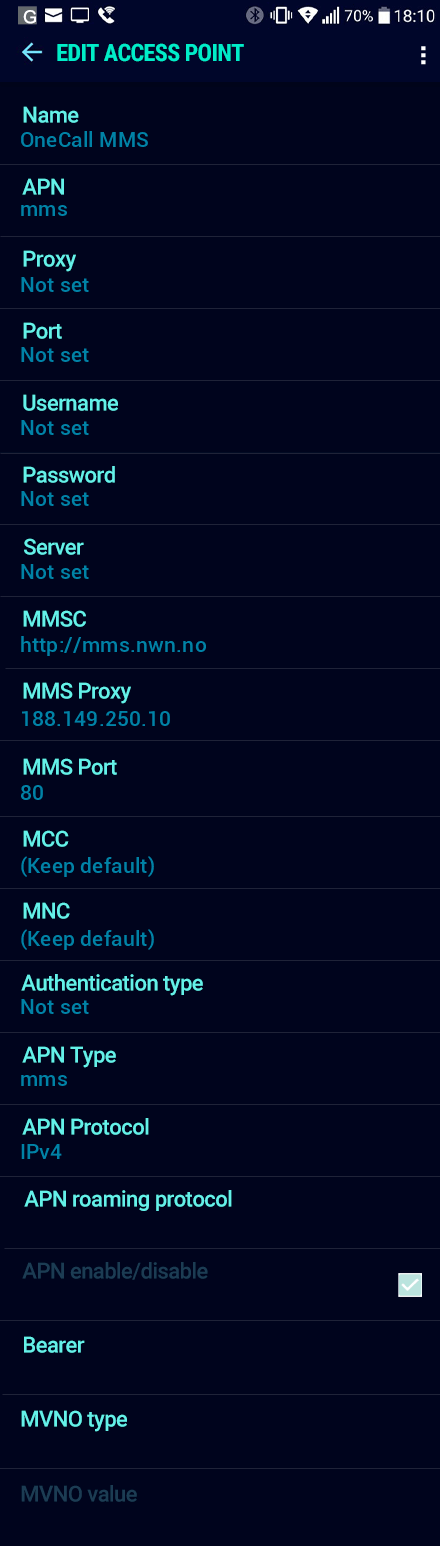 OneCall MMS APN settings for Android Nougat screenshot