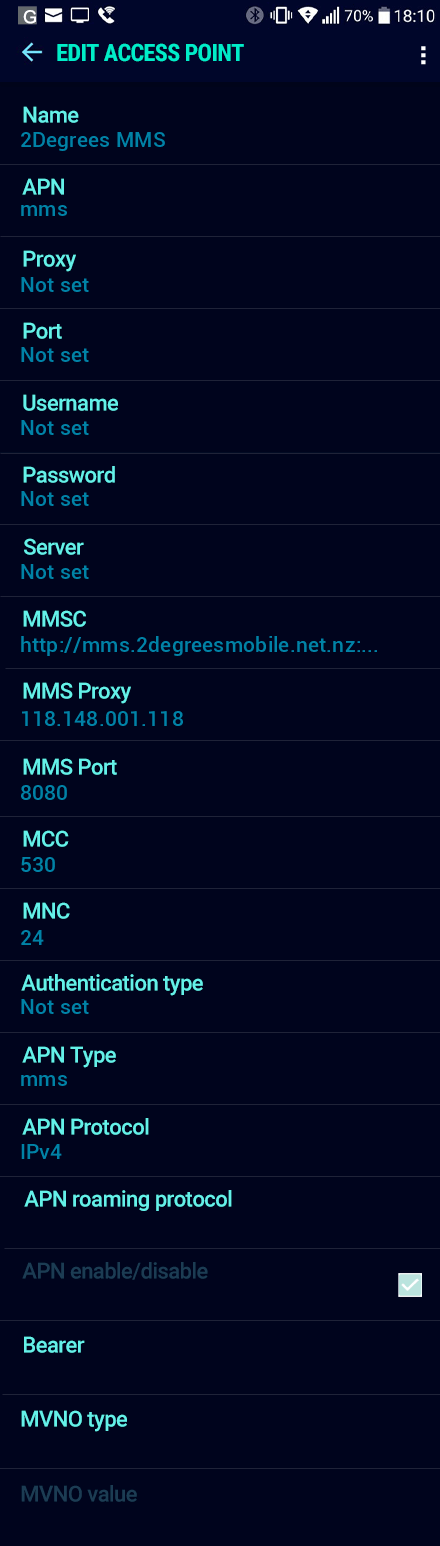 2Degrees MMS APN settings for Android Nougat screenshot