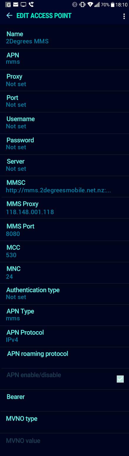2Degrees MMS APN settings for Android Nougat screenshot