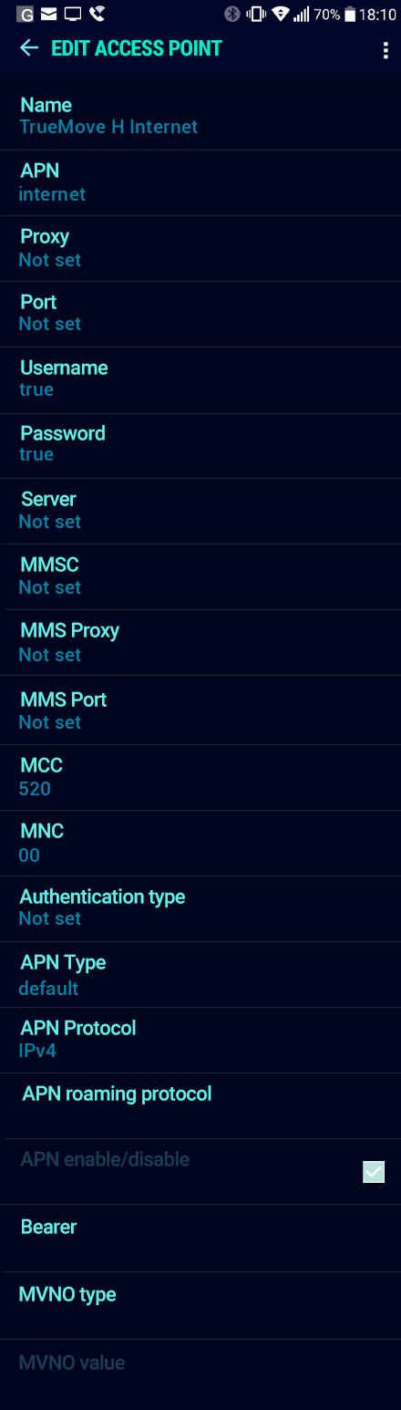 TrueMove H Internet APN settings for Android Nougat screenshot