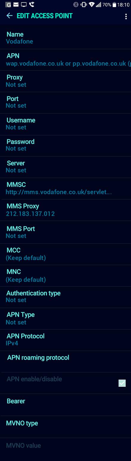 Vodafone  APN settings for Android Nougat screenshot