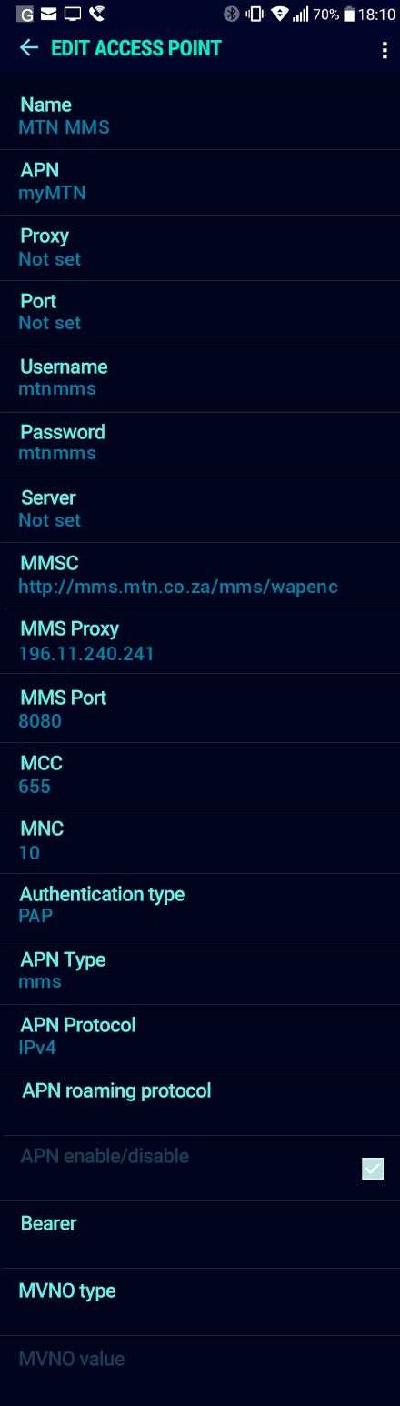 MTN MMS APN settings for Android Nougat screenshot