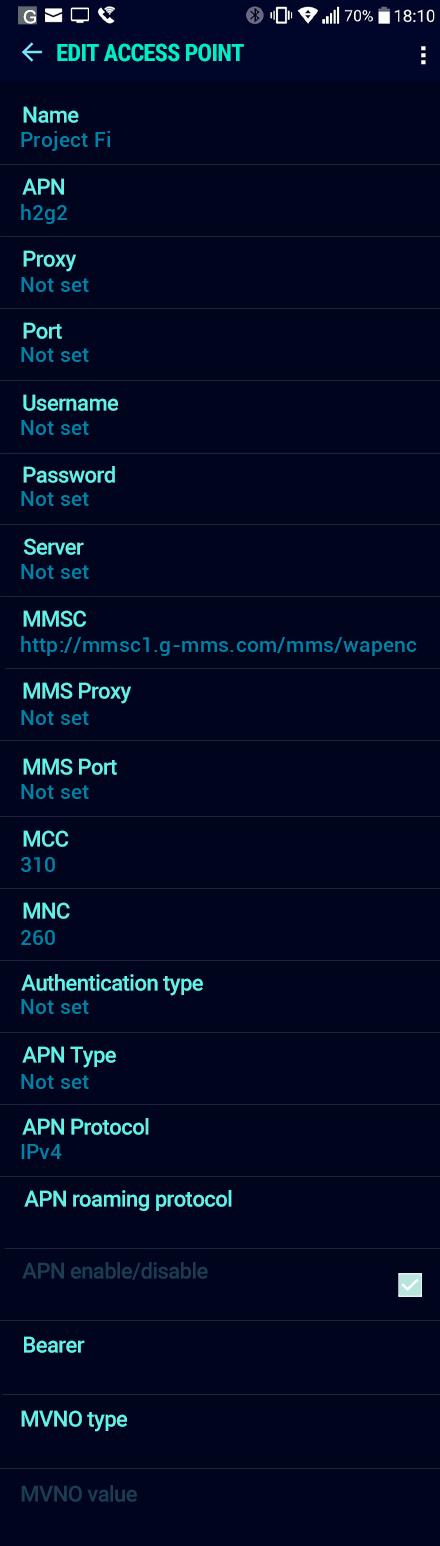 Project Fi  APN settings for Android Nougat screenshot
