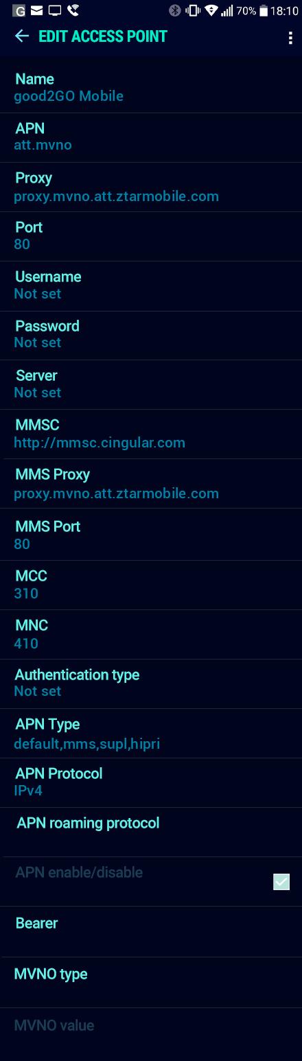 good2GO Mobile  APN settings for Android Nougat screenshot