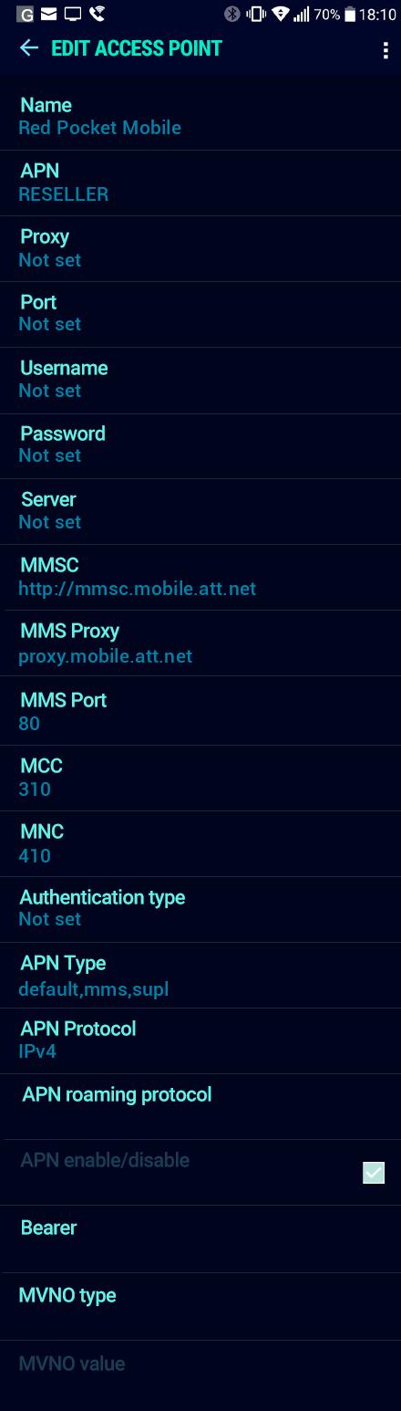 Red Pocket Mobile  APN settings for Android Nougat screenshot