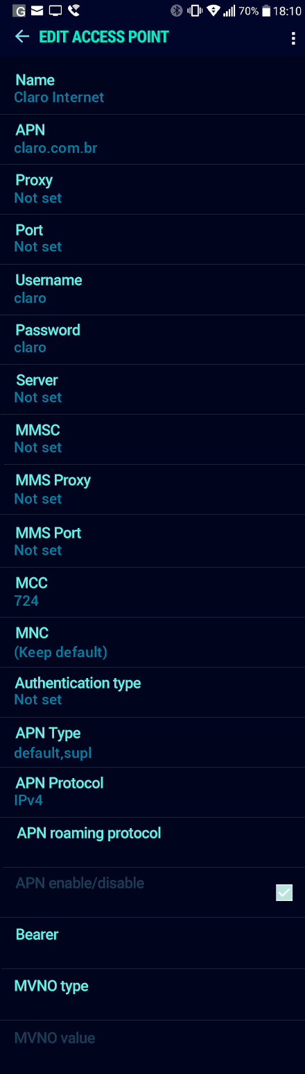 Claro Internet APN settings for Android Nougat screenshot