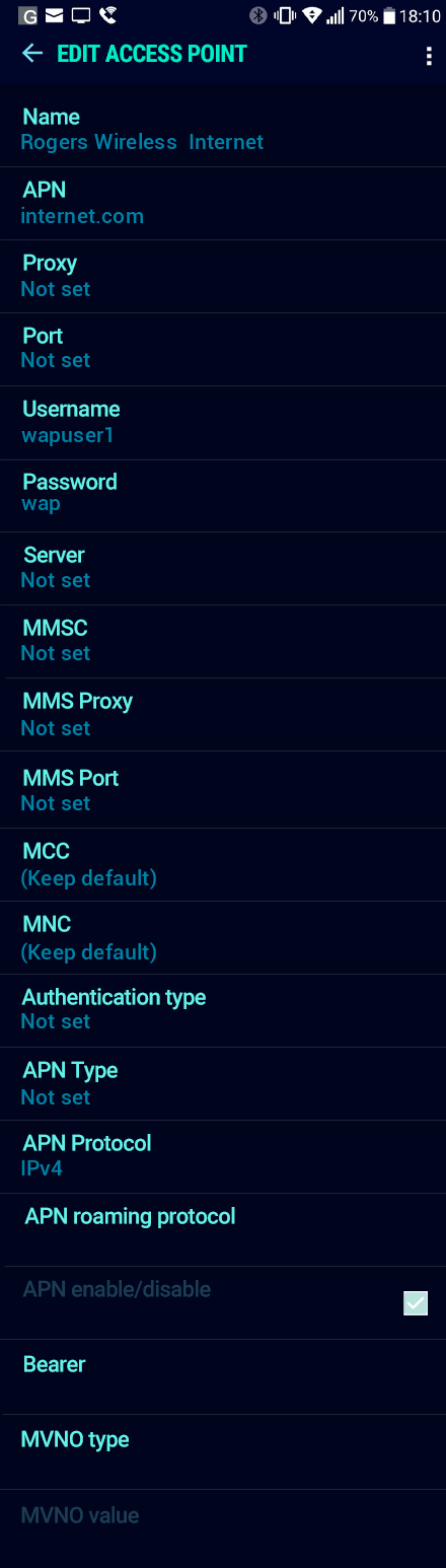 Rogers Wireless  Internet APN settings for Android Nougat screenshot