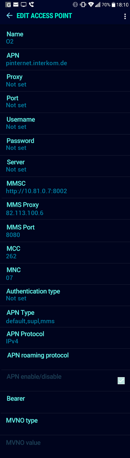 O2  APN settings for Android Nougat screenshot