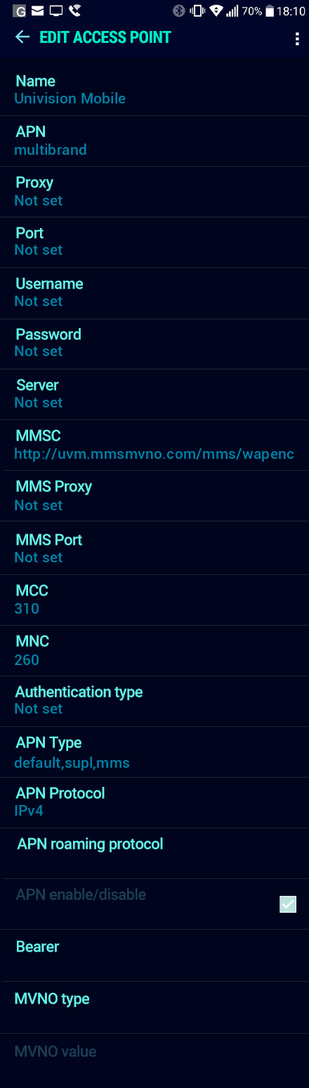 Univision Mobile  APN settings for Android Nougat screenshot