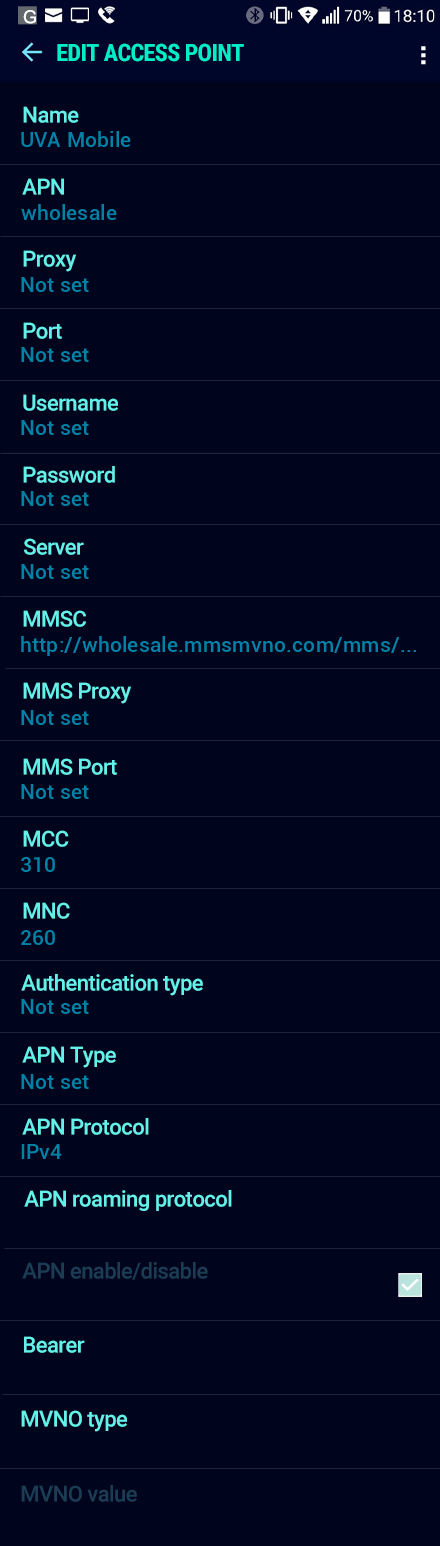 UVA Mobile  APN settings for Android Nougat screenshot