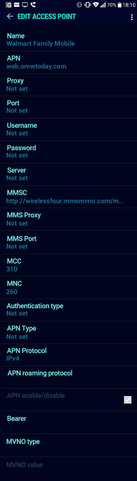 Walmart Family Mobile  APN settings for Android Nougat screenshot