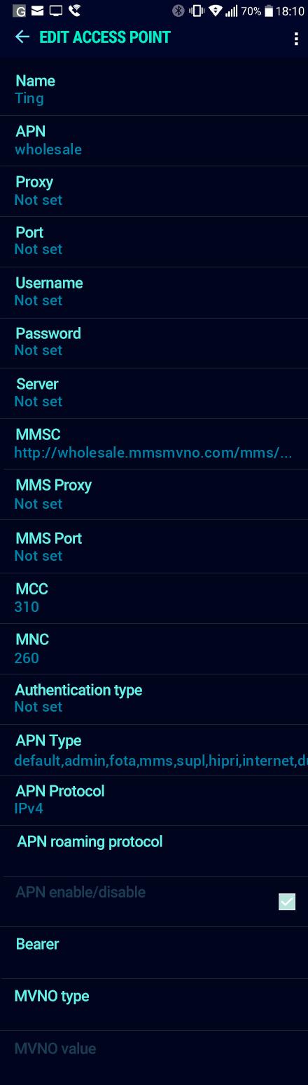 Ting  APN settings for Android Nougat screenshot