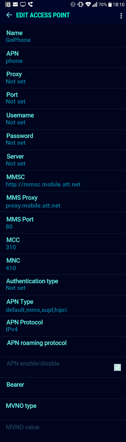 GoPhone  APN settings for Android Nougat screenshot