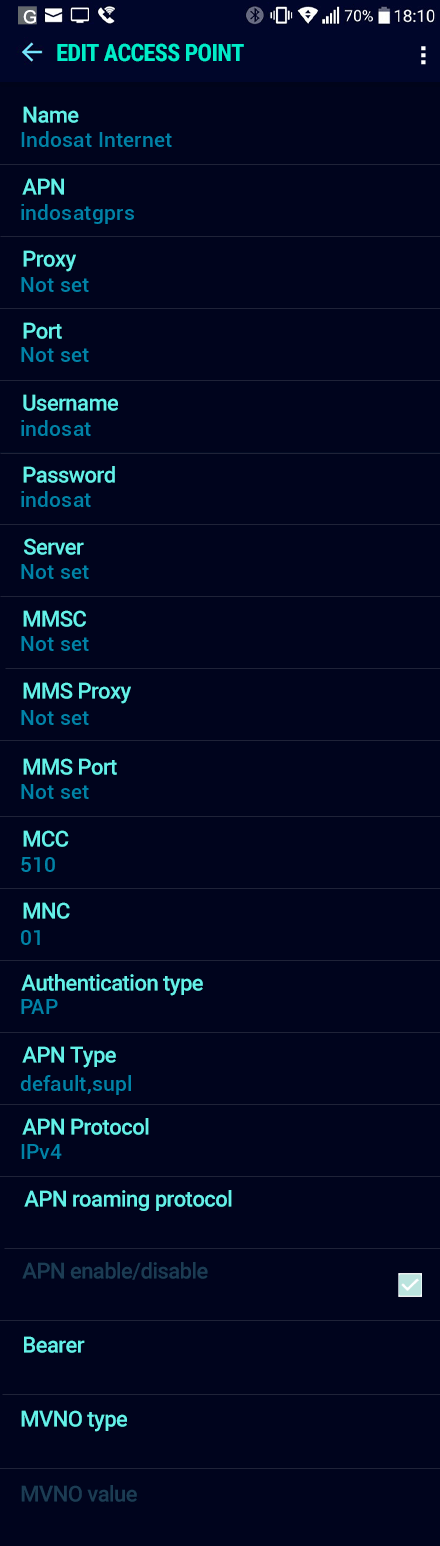 Indosat Internet APN settings for Android Nougat screenshot