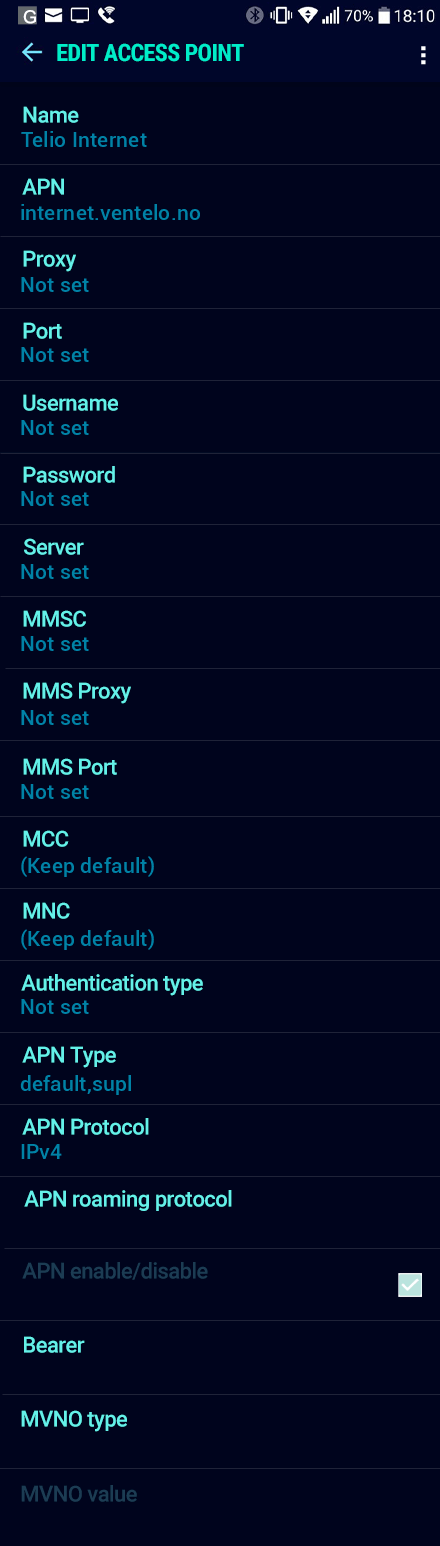 Telio Internet APN settings for Android Nougat screenshot