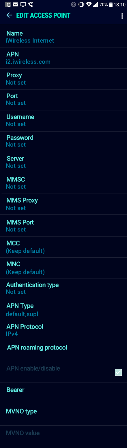 iWireless Internet APN settings for Android Nougat screenshot