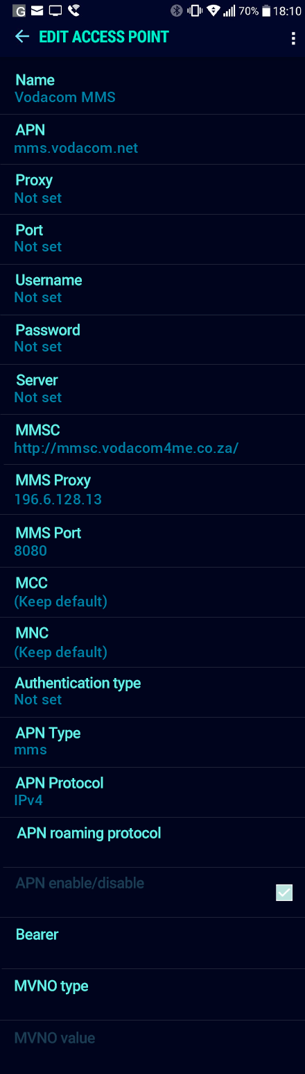 Vodacom MMS APN settings for Android Nougat screenshot