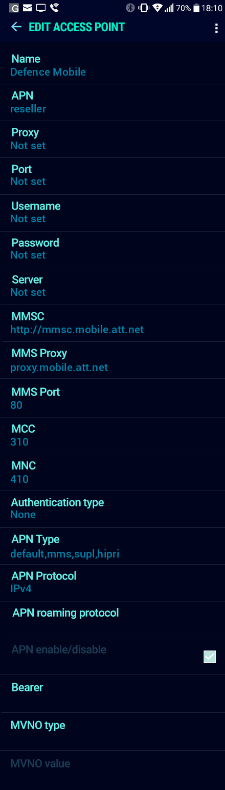 Defence Mobile  APN settings for Android Nougat screenshot