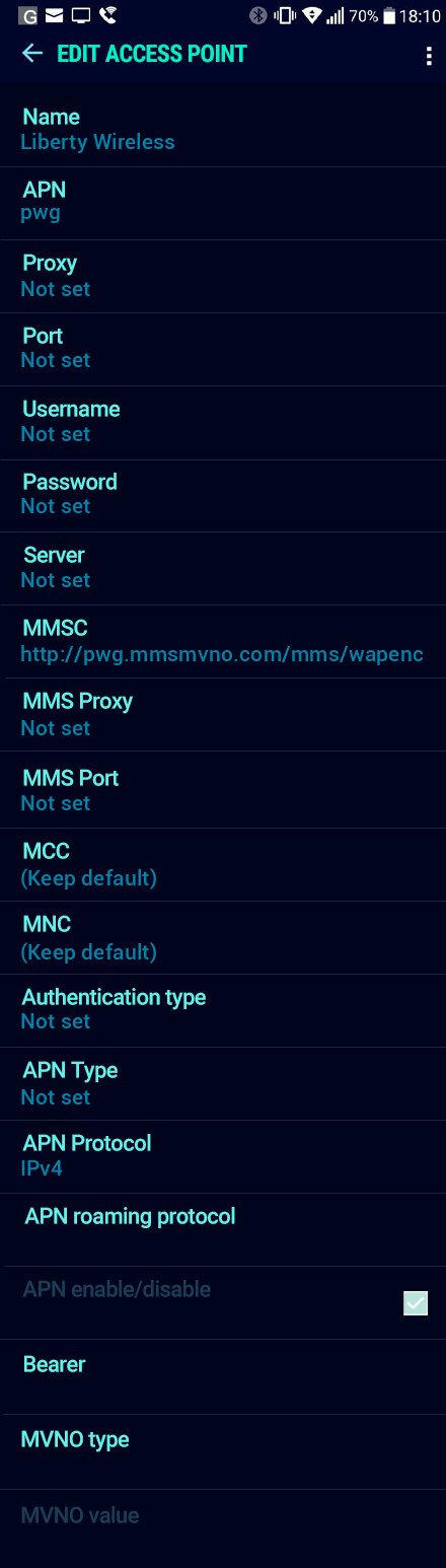 Liberty Wireless  APN settings for Android Nougat screenshot