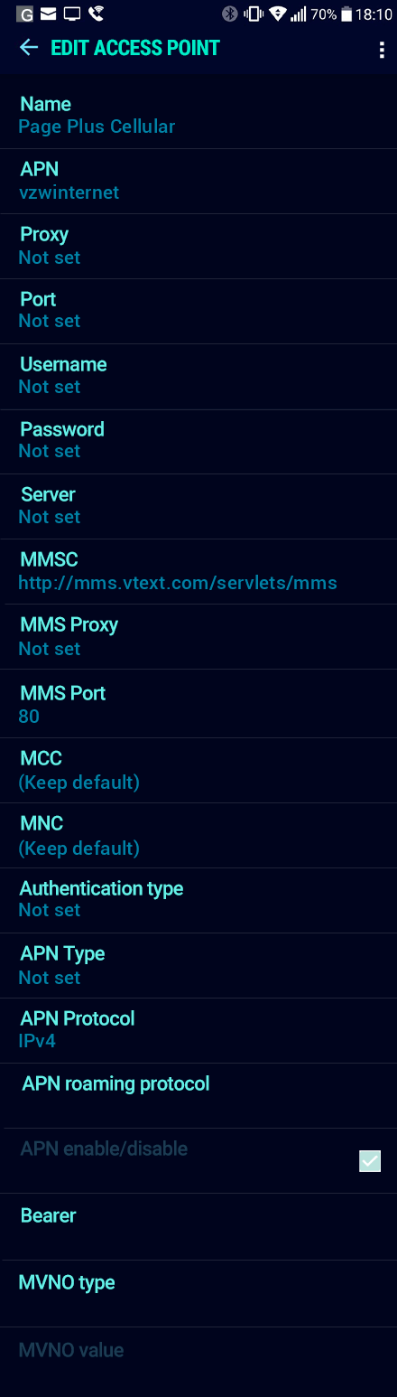 Page Plus Cellular  APN settings for Android Nougat screenshot