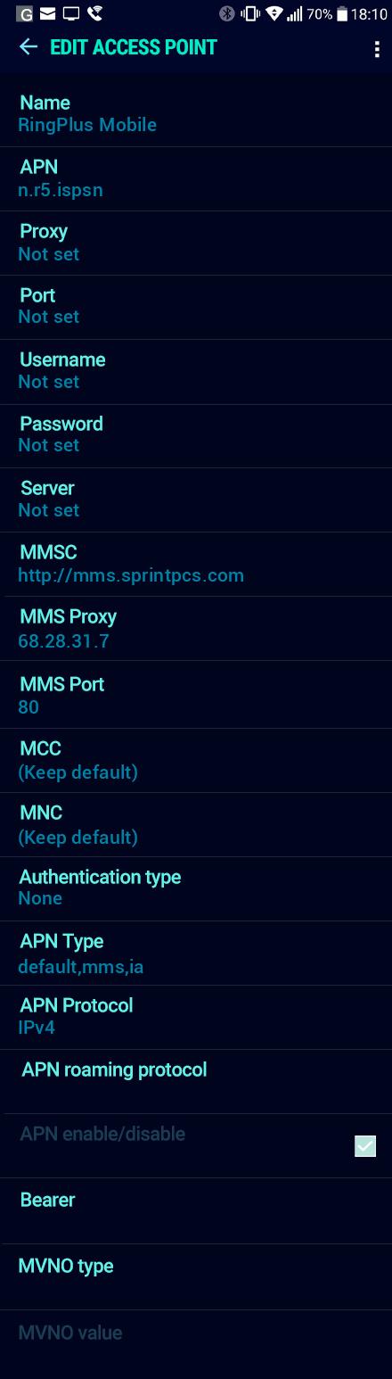 RingPlus Mobile  APN settings for Android Nougat screenshot