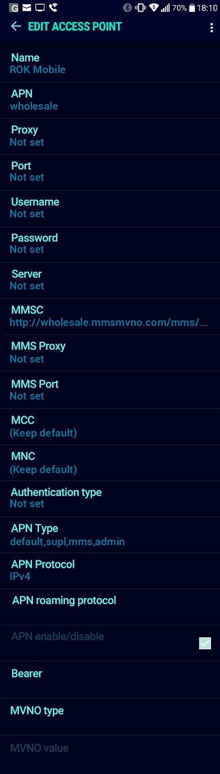 ROK Mobile  APN settings for Android Nougat screenshot