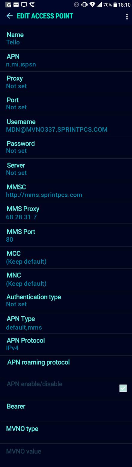 Tello  APN settings for Android Nougat screenshot