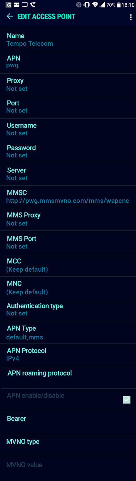 Tempo Telecom  APN settings for Android Nougat screenshot