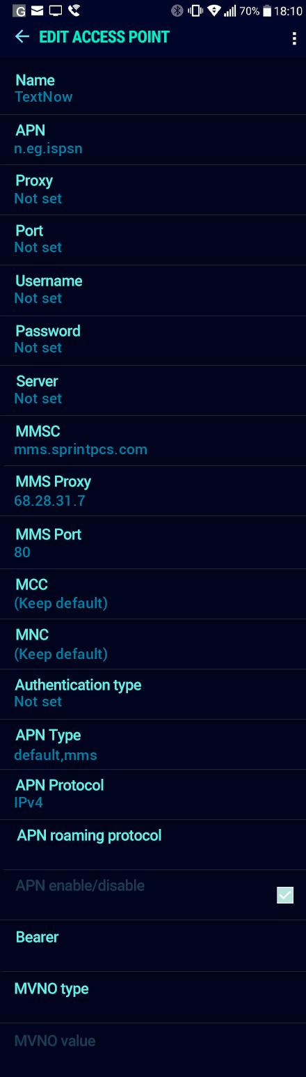 TextNow  APN settings for Android Nougat screenshot