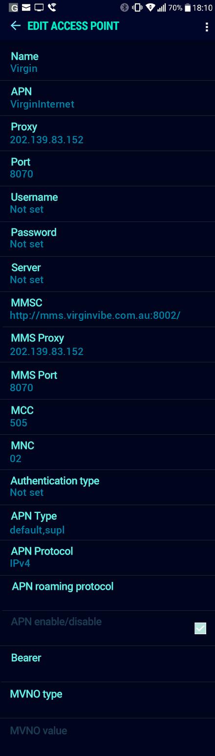 Virgin  APN settings for Android Nougat screenshot