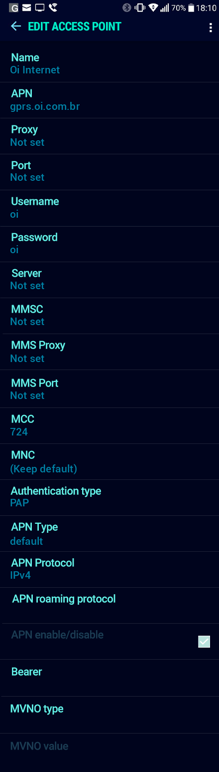Oi Internet APN settings for Android Nougat screenshot