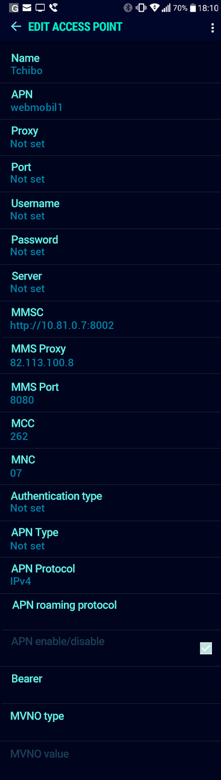 Tchibo  APN settings for Android Nougat screenshot