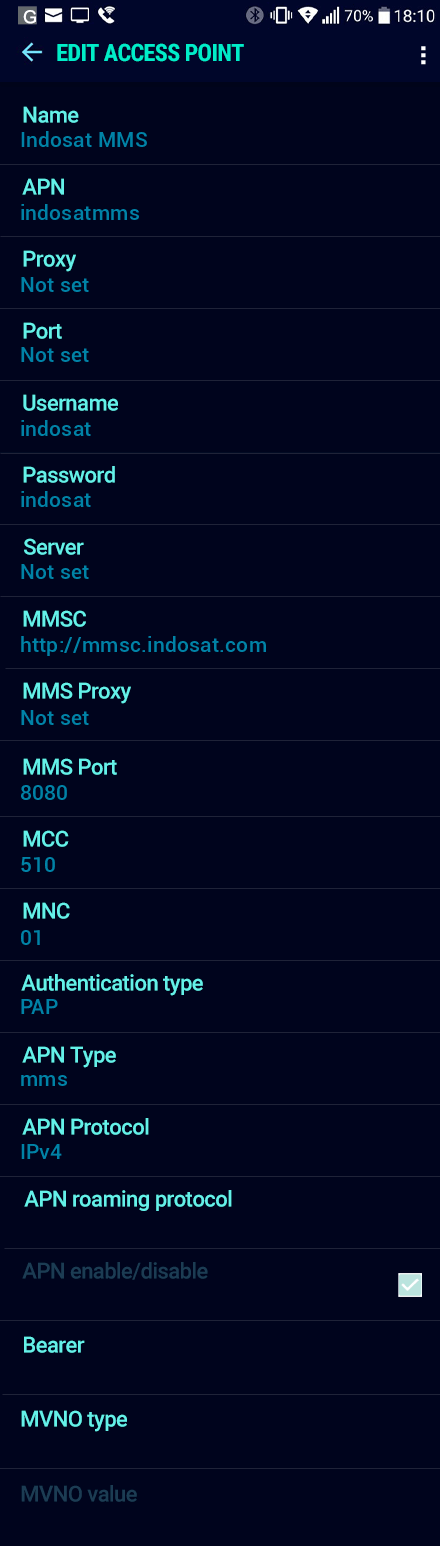 Indosat MMS APN settings for Android Nougat screenshot