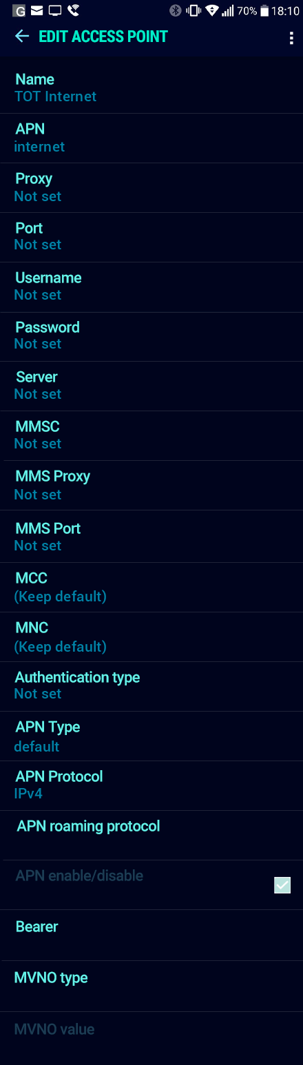 TOT Internet APN settings for Android Nougat screenshot