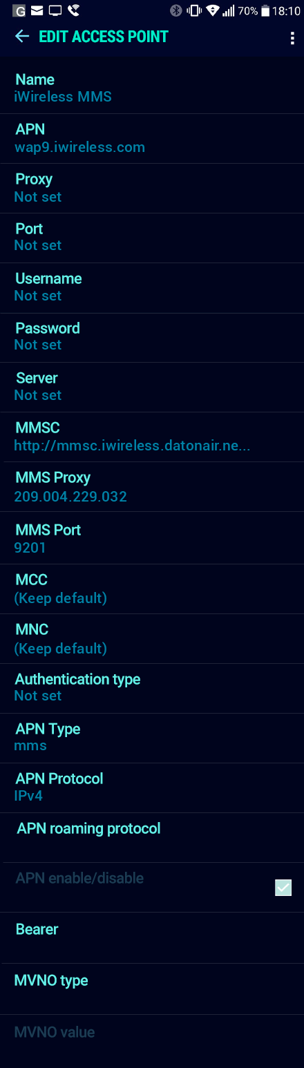 iWireless MMS APN settings for Android Nougat screenshot