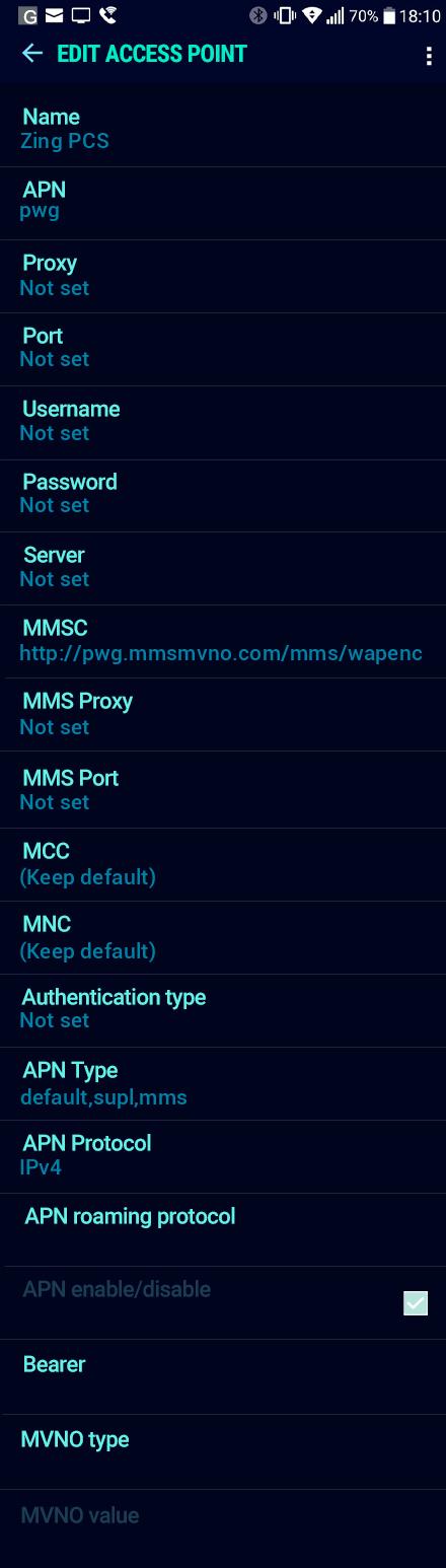 Zing PCS  APN settings for Android Nougat screenshot