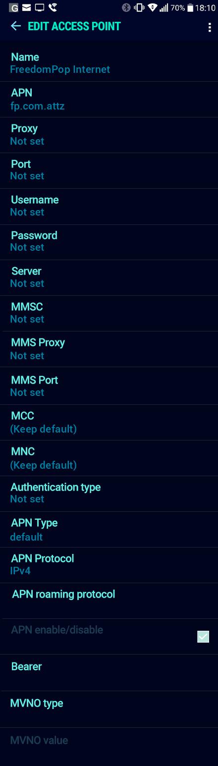 FreedomPop Internet APN settings for Android Nougat screenshot