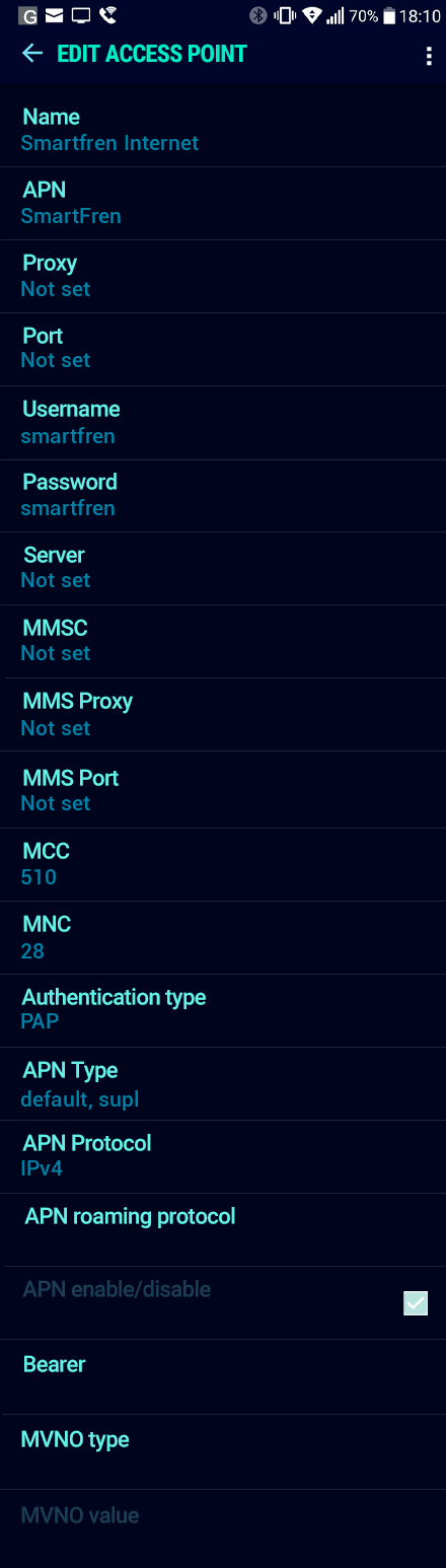 Smartfren Internet APN settings for Android Nougat screenshot