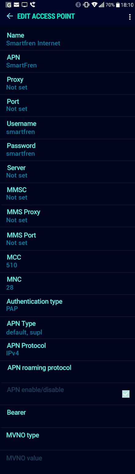 Smartfren Internet APN settings for Android Nougat screenshot