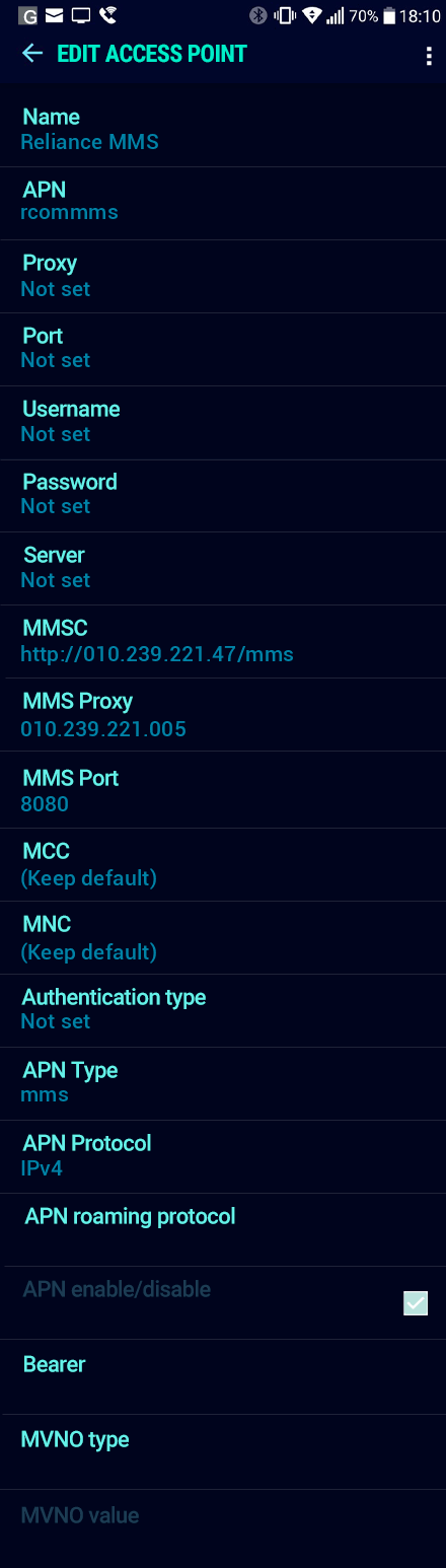 Reliance MMS APN settings for Android Nougat screenshot