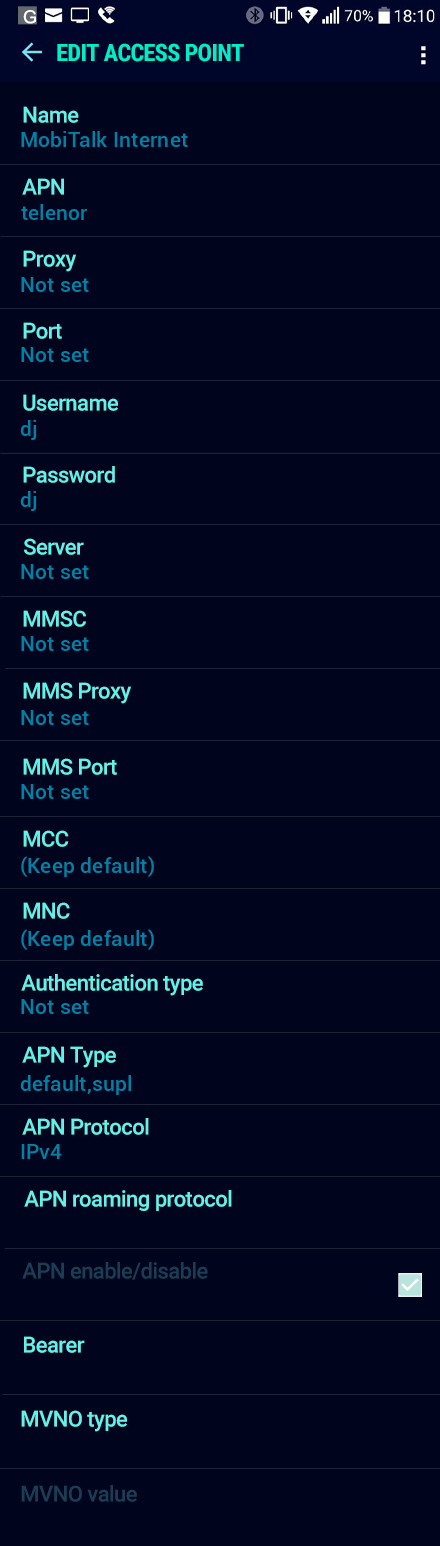 MobiTalk Internet APN settings for Android Nougat screenshot