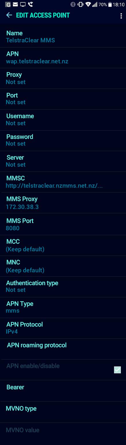 TelstraClear MMS APN settings for Android Nougat screenshot